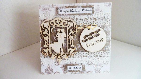 Ślubna kartka vintage – folder na płytę cd