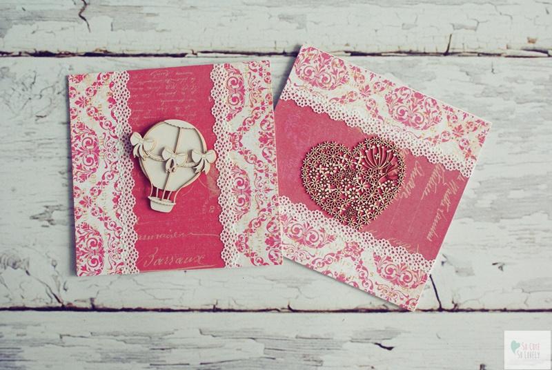 Balon i serduszko – różowe foldery na płytę