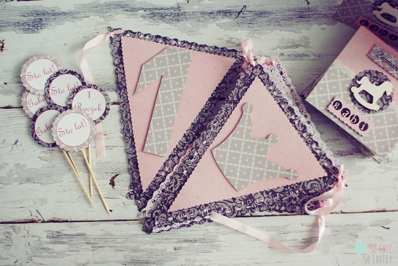 Dekoracje na przyjęcie urodzinowe – baner, patyczki do muffinek i zaproszenia