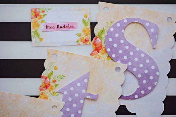 Girlanda urodzinowa w kwiaty Fioletowa