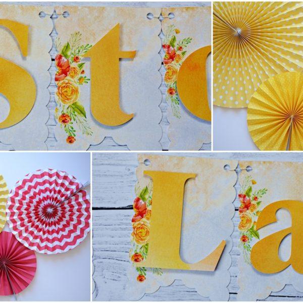 Girlanda Sto Lat w kwiaty żółta