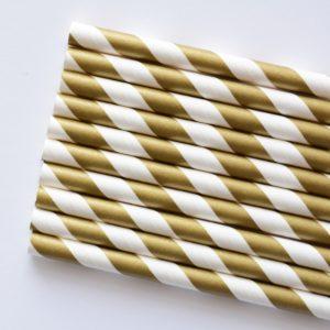 słomki papierowe złote