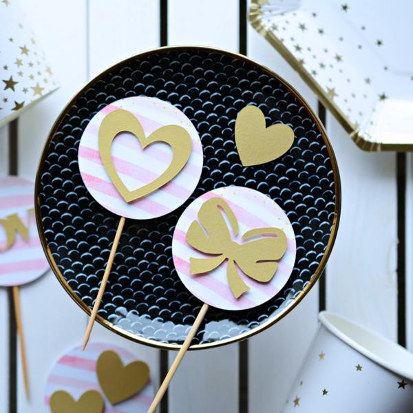 Toppery Złoto i Róż, piki do muffin wzór