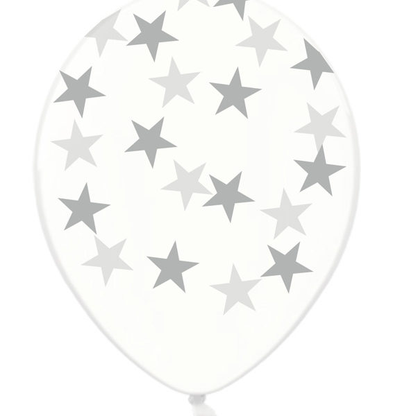 balony srebrne gwiazdki