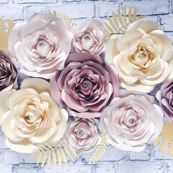 metalizowany rose gold, metalizowany perłowy, metalizowany beż, metalizowany ciemniejszy nude, matowy jaśniejszy nude oraz złote liście