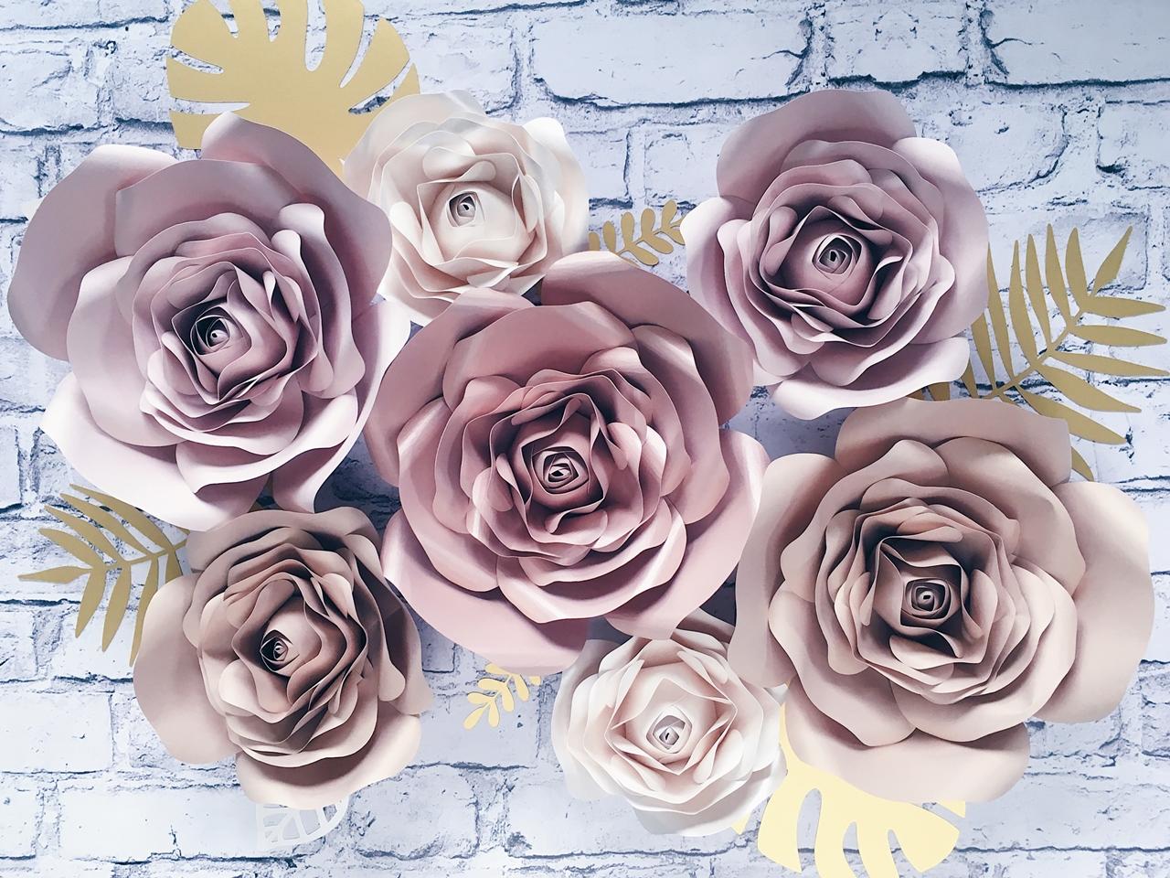 kwiaty z papieru na ścianę 3d rose gold
