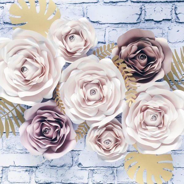 Kwiaty z papieru na ścianę - róże 3D