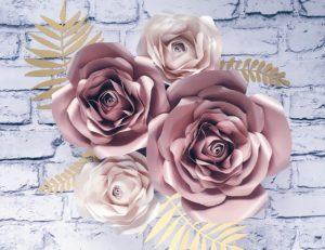 Kwiaty na ścianę 3D rose gold