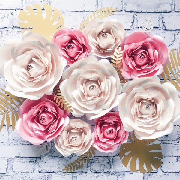 Duże kwiaty z papieru 3D- ścianka ślubna