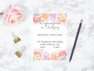 Zaproszenie urodzinowe w kwiaty