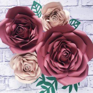 Kwiaty na ściankę - brudny róż i beż
