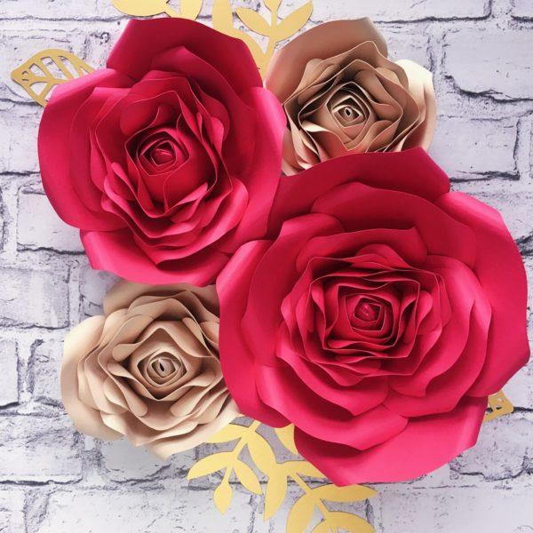 Kwiaty na ściankę - fuksja i beż