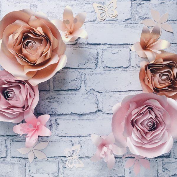 Kwiaty na ścianę do pokoju dziecka - jasny róż