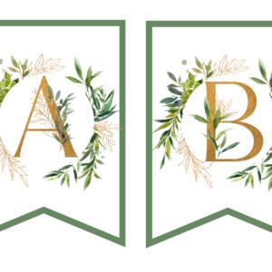 rustykalne dekoracje urodzinowe do druku zielone liście