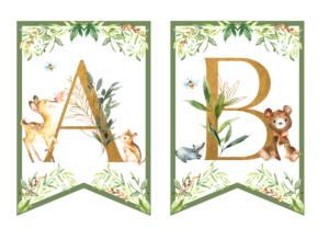 Leśne zwierzęta - dekoracje urodzinowe alfabet do druku