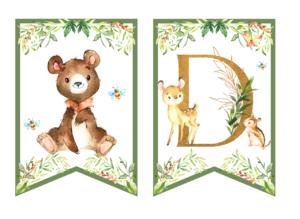 Leśne zwierzęta - dekoracje urodzinowe do druku girlanda