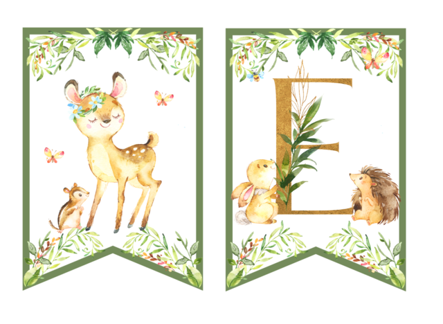 Leśne zwierzęta - dekoracje urodzinowe girlanda do druku