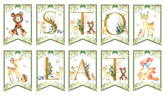 Leśne zwierzęta - dekoracje urodzinowe do druku alfabet girlanda