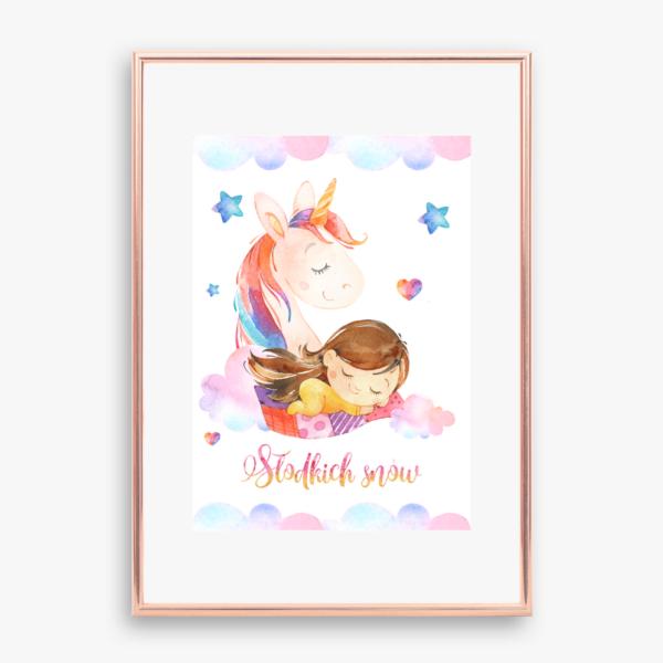 Plakat Jednorożec i śpiąca dziewczynka