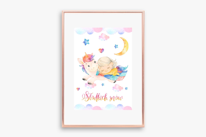 plakat jednorożec i dziewczynka do druku słodkich snów