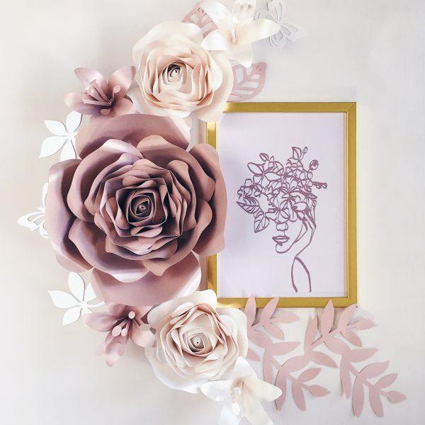 Duże kwiaty rose gold i perła - dekoracja na ścianę