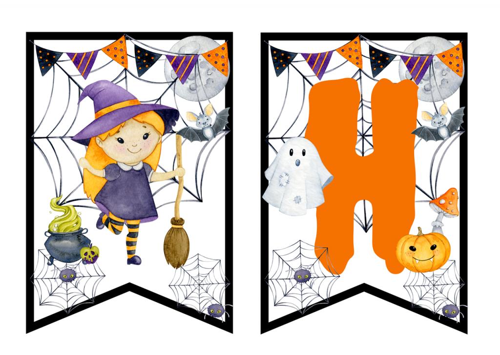 Halloween dekoracje dla dzieci do pobrania i druku