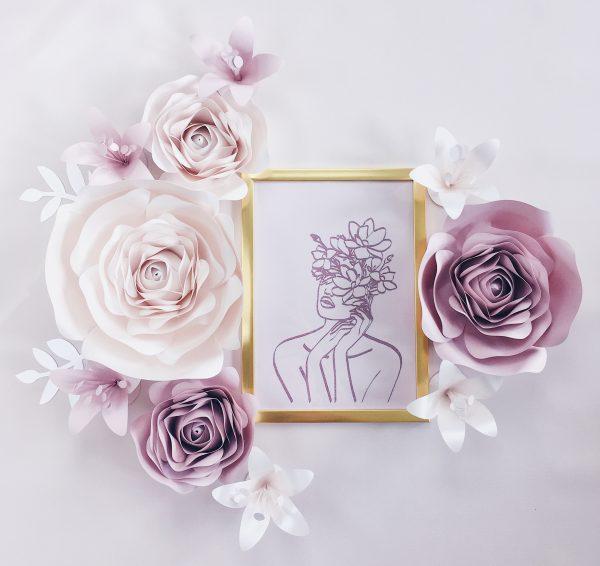 Duże kwiaty 3d - dekoracja na ściankę