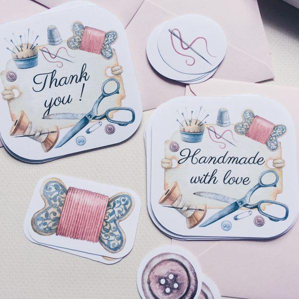 naklejki handmade with love i thank you szycie