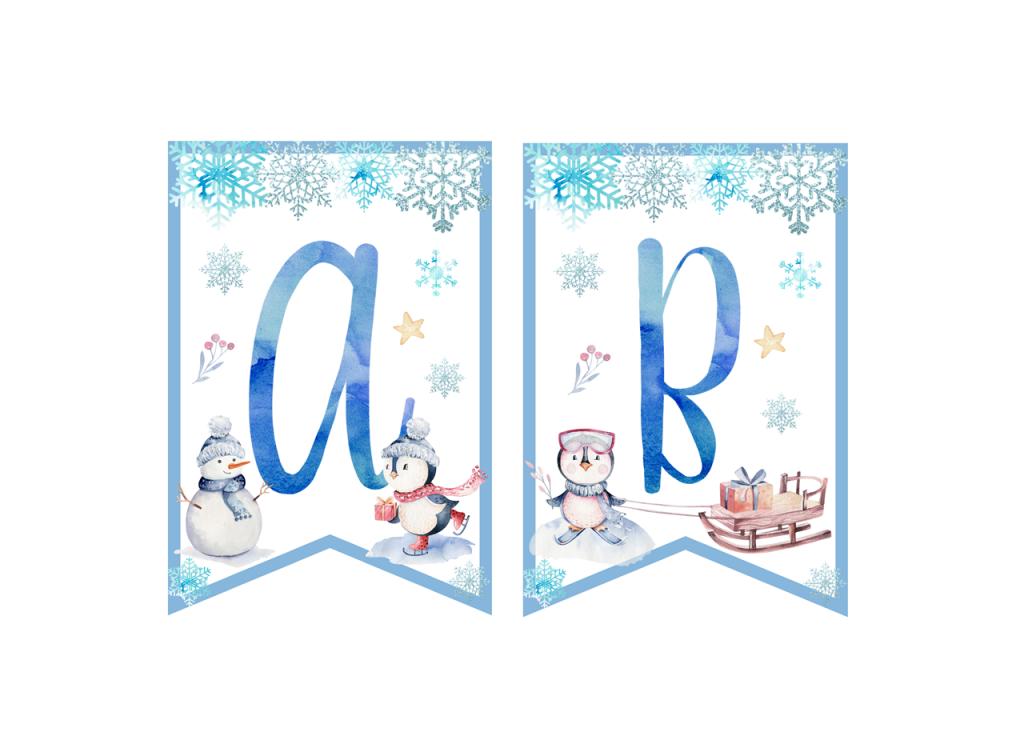 zimowe urodziny dekoracje na urodziny zimą do druku