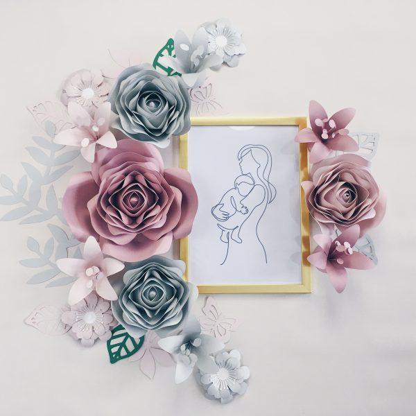 Duże kwiaty na ścianę do pokoju dziewczynki kolor różowy i szary