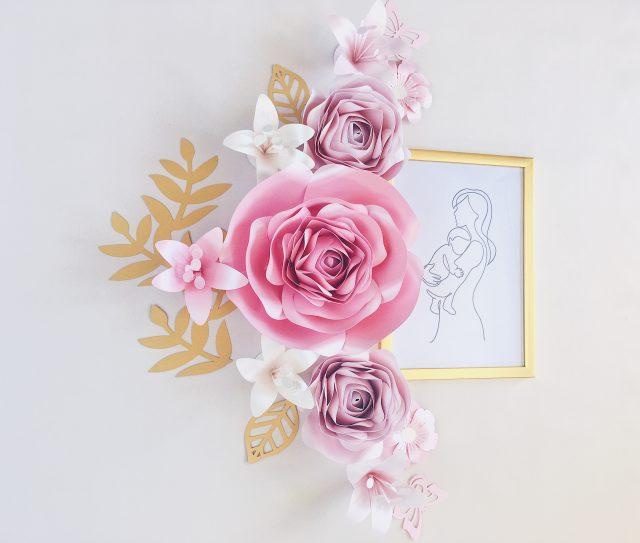 Duże różowe kwiaty - dekoracja na ścianę