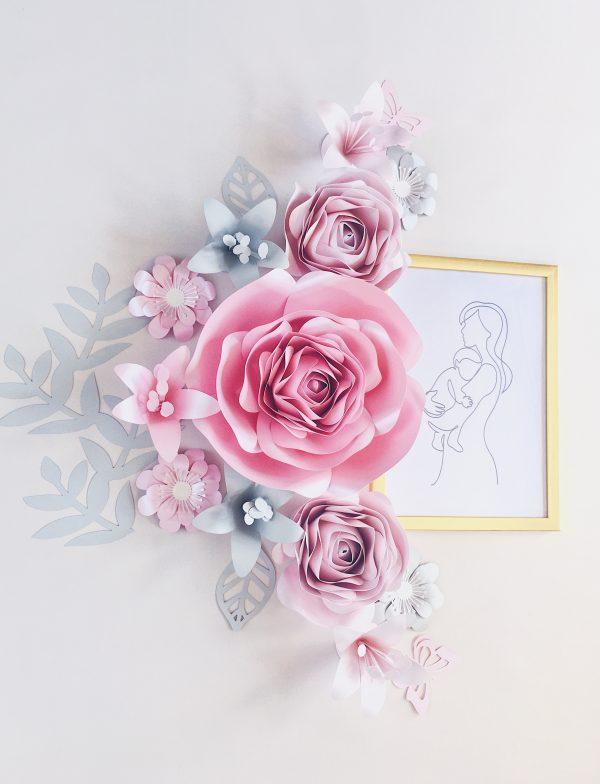 Duże kwiaty na ścianę - dekoracje do pokoju dziewczynki kolor różowy i szary