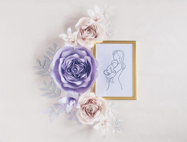Kwiaty na ścianę - dekoracje do pokoju dziewczynki - fiolet i perła