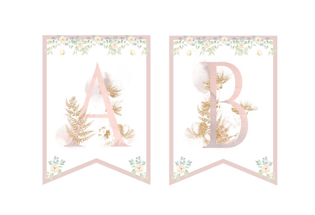 Dekoracje do druku - róż liliowy i złoto - girlanda i piki