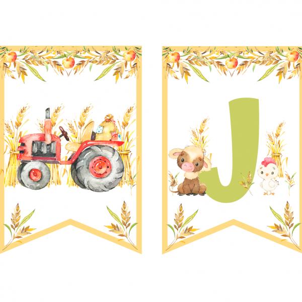 Lato na wsi, zwierzęta i traktor - girlanda urodzinowa do druku
