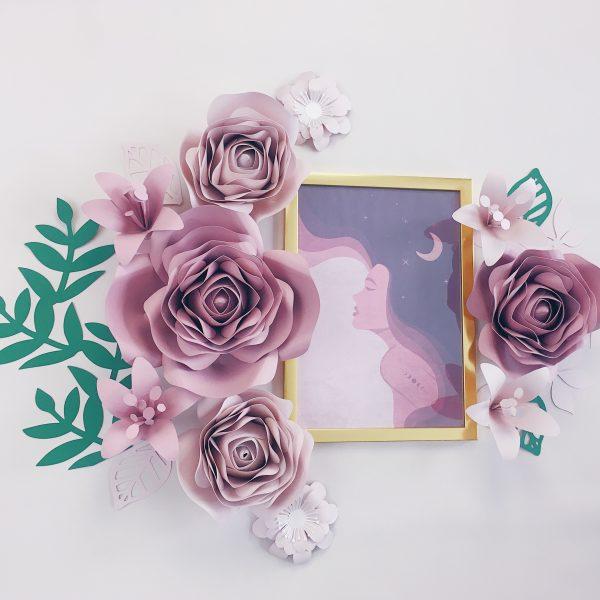 kwiaty z papieru dekoracja na ścianę